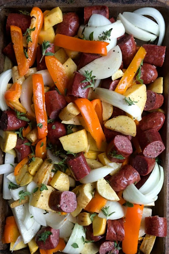 9. Parsnips Rutabaga Sausage Sheet-Pan Dinner