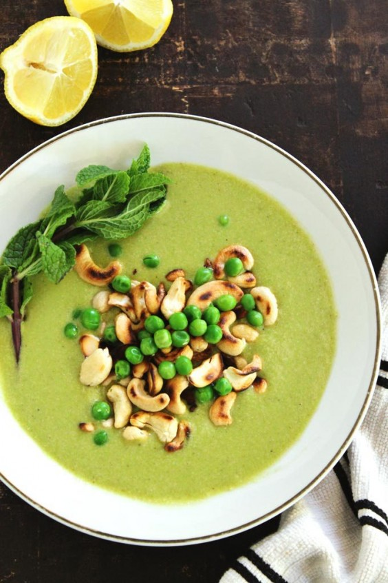 1. Chilled Pea Cucumber Cashew Soup With Mint