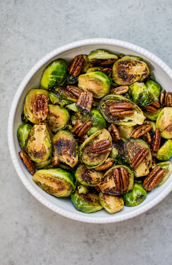 2. Maple Pecan Brussels Sprouts