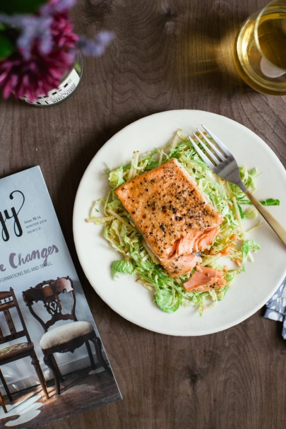1. Honey Mustard Salmon With Shaved Brussels Sprout Salad