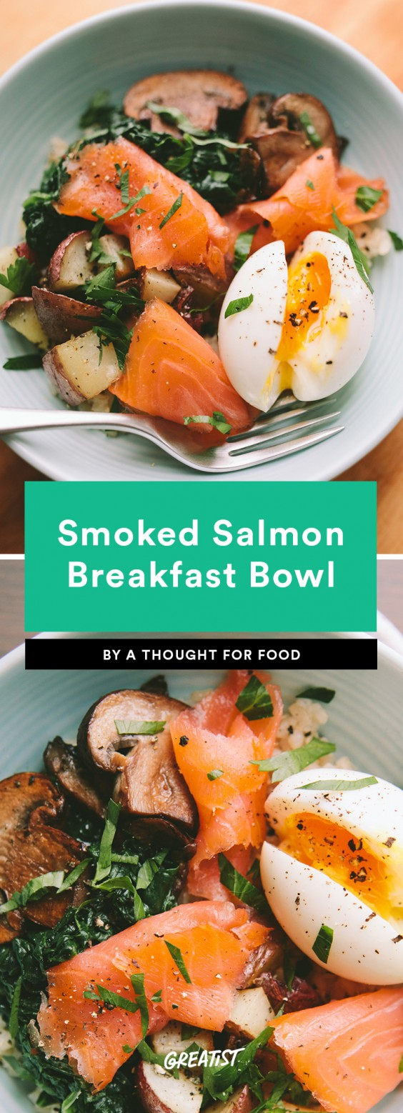 1. Smoked Salmon Breakfast Bowl With a 6-Minute Egg