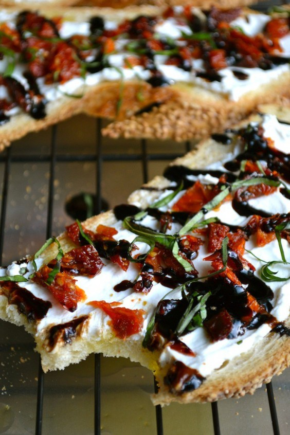 9. Goat Cheese and Sun-Dried Tomato Crostini