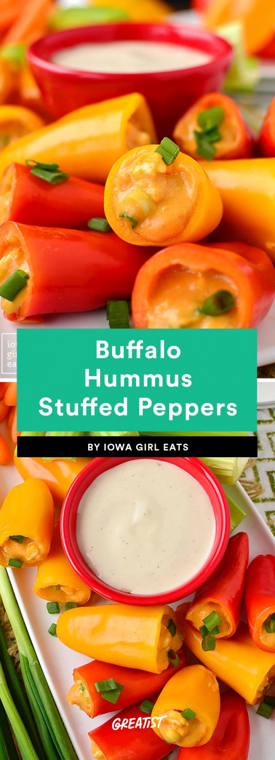 Buffalo Hummus Stuffed Peppers