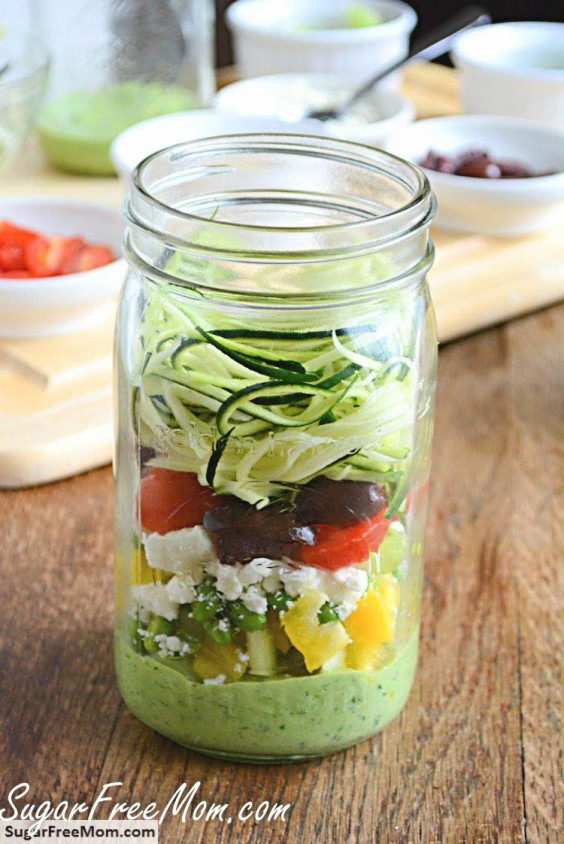10. Mason Jar Zucchini Pasta Salad With Avocado Spinach Dressing
