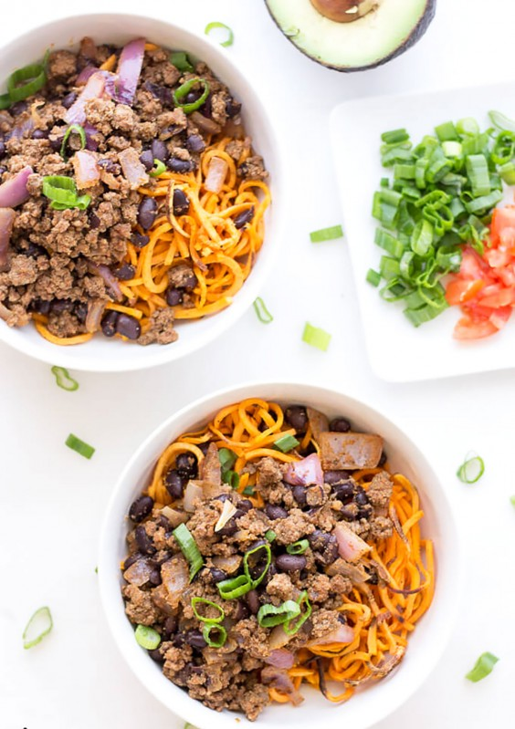 Ground Beef Recipes: Sweet Potato Noodle Taco Bowls