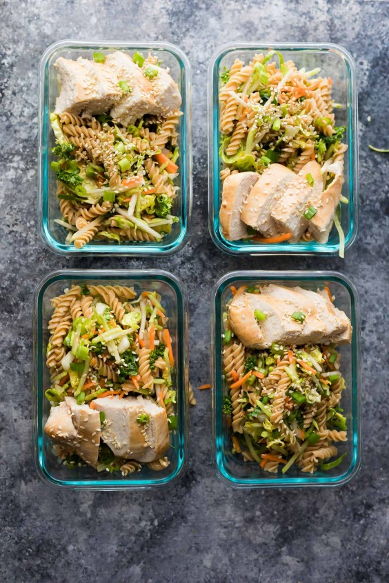 3. Meal-Prep Sesame Chicken Pasta Salad