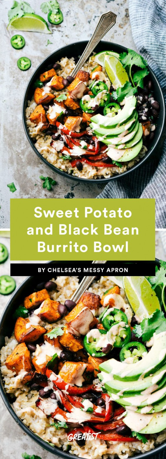 1. Easy Sweet Potato and Black Bean Burrito Bowl
