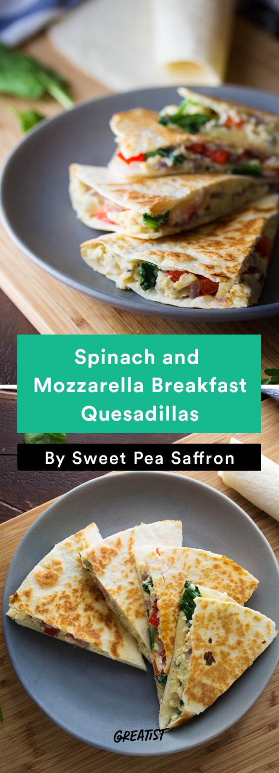 Scrambled Egg Recipes: Spinach and Mozzarella Breakfast Quesadillas