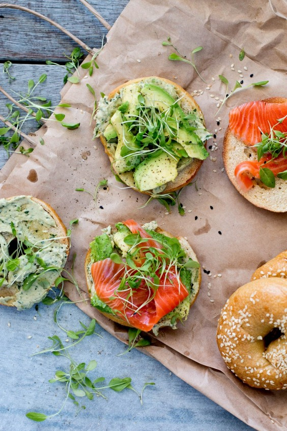 5. Homemade Bagels With Coriander-Lime Hummus, Avocado, and Salmon