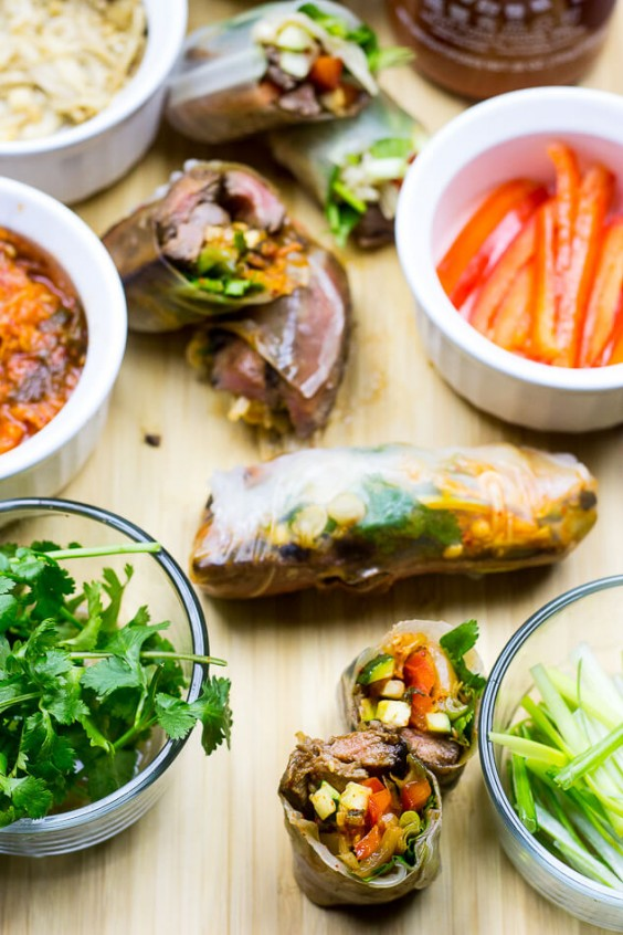 5. Steak and Kimchi Summer Rolls