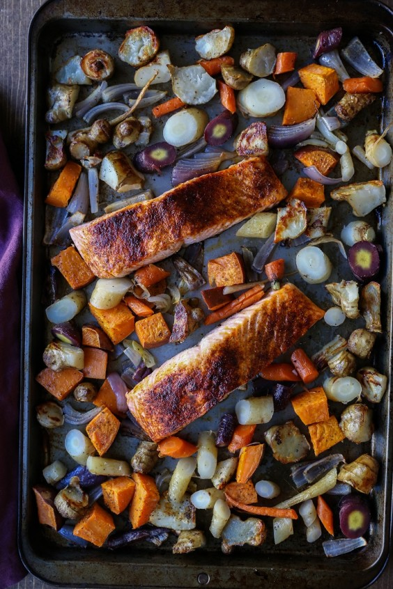 8. Salmon and Roasted Root Vegetable Sheet-Pan Dinner