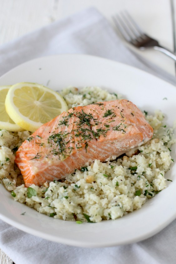 1. Salmon With Lemon and Herb Cauliflower Rice