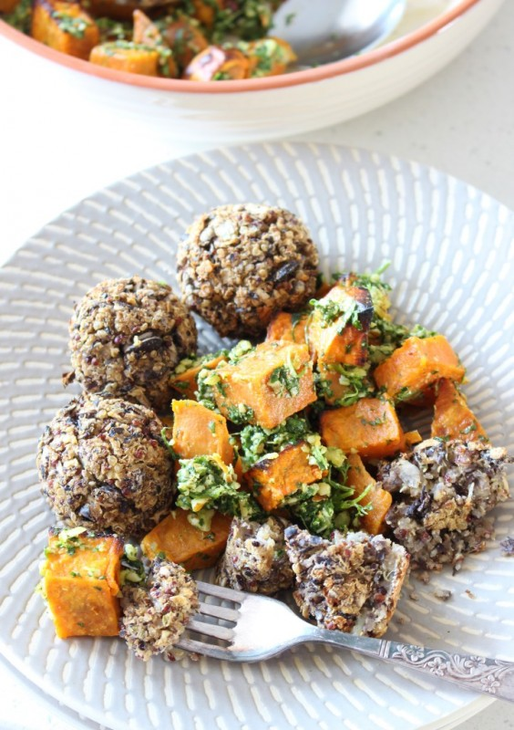 "2. Black Bean ""Meatballs"" With Coriander Sweet Potato Salad"