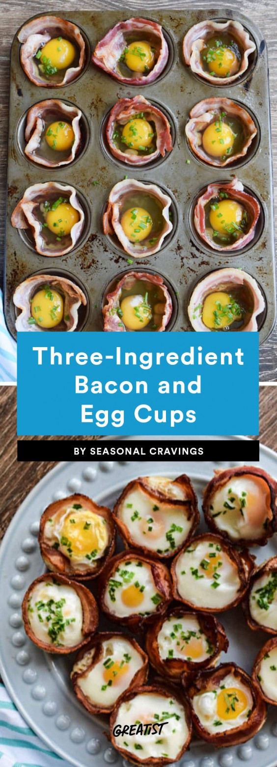 three ingredient breakfast: Bacon and Egg Cups