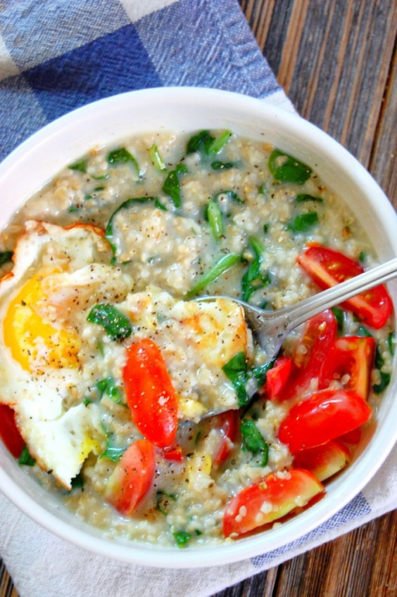 13. Savory Spinach Steel Cut Oatmeal