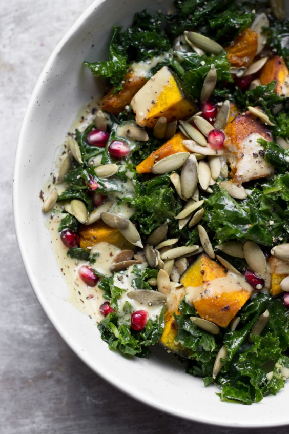 9. Kale Salad With Kabocha Squash and Maple Dijon Dressing