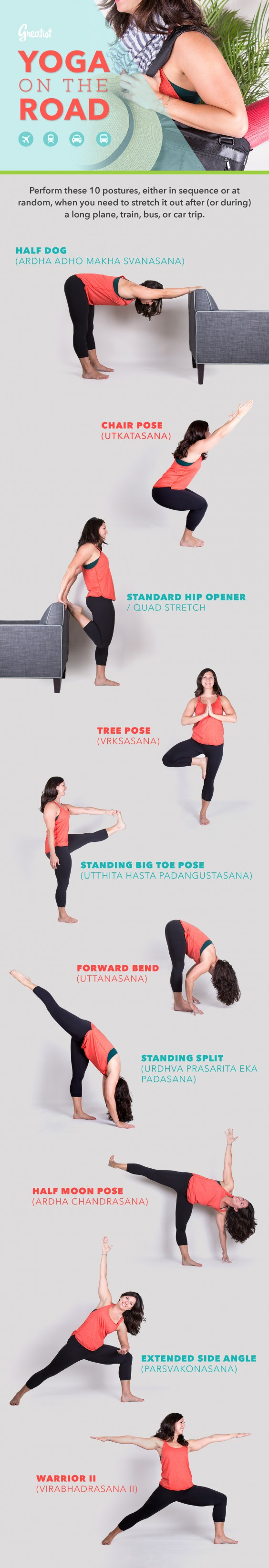 Yoga Poses: The 46 Best Moves to Stay Fit While Traveling