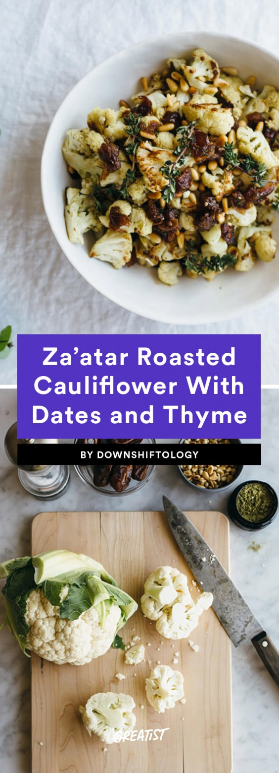 1. Za'atar Roasted Cauliflower With Dates, Pine Nuts, and Thyme
