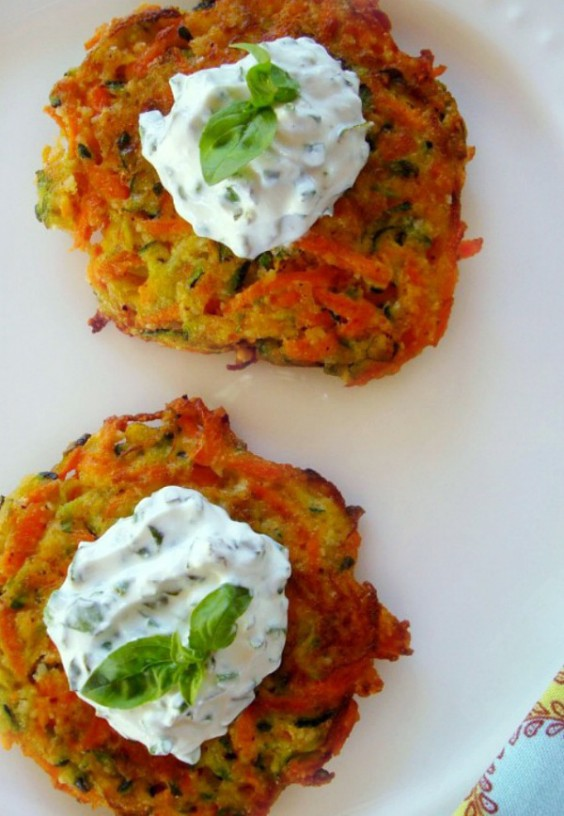Summer Latkes with Basil Cream