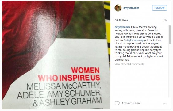 Amy Schumer Instagram Post: Glamour Magazine Women at Any Size Issue
