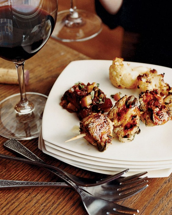 Herb Chicken Skewers with Harissa