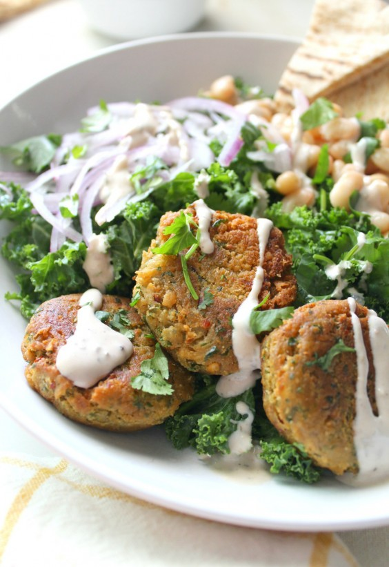 Falafel Kale Salad With Tahini Dressing