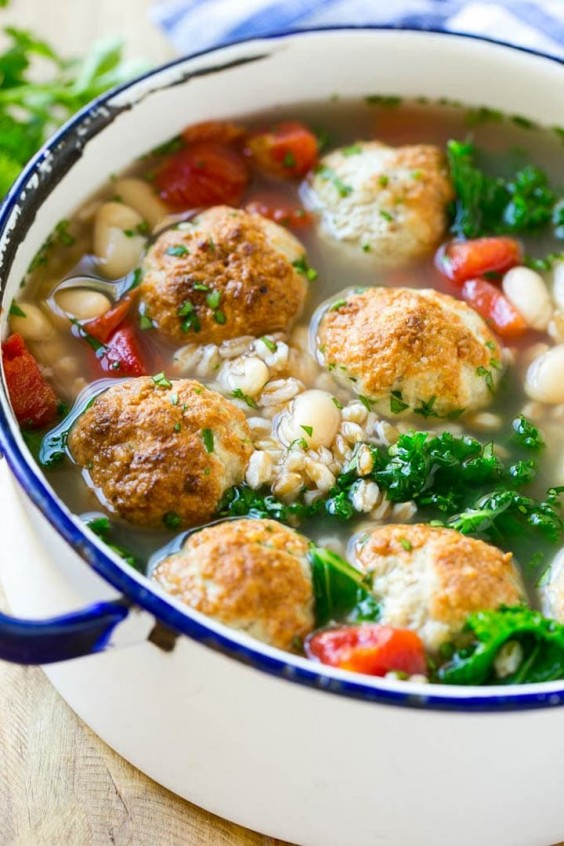 10. Farro Soup With Meatballs
