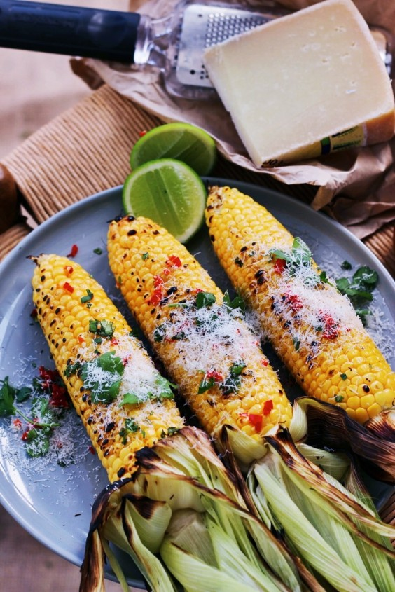4. Grilled Corn With Truffle Oil, Chili, and Parmesan