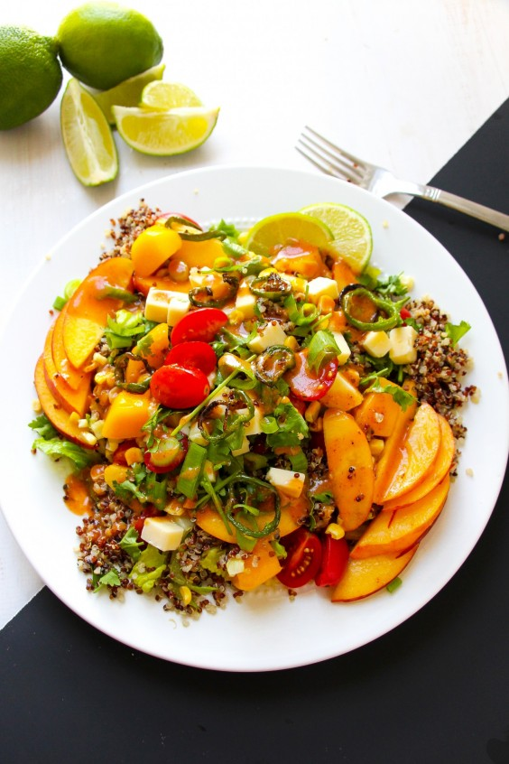 5. Chipotle Honey Roasted Jalapeño Peach Corn Quinoa Salad