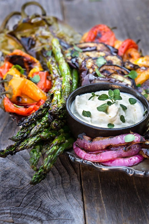 2. Marinated Grilled Vegetables With Whipped Goat Cheese