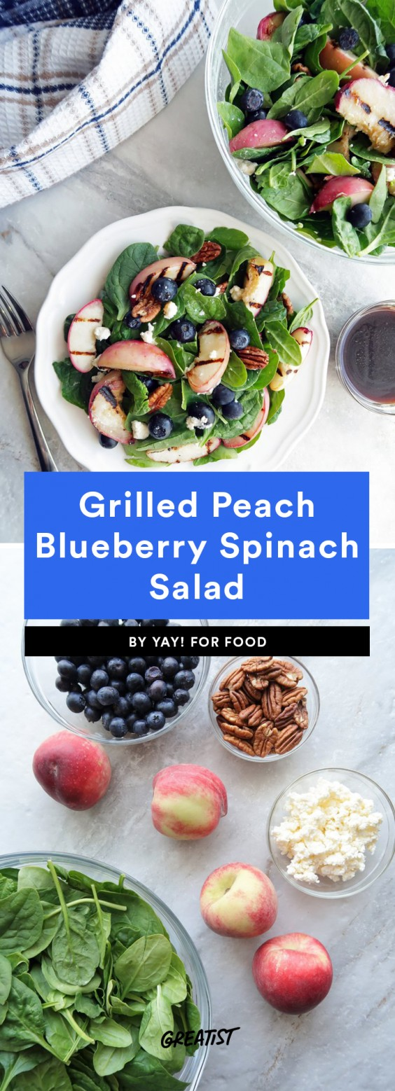 4. Grilled Peach Blueberry Spinach Salad