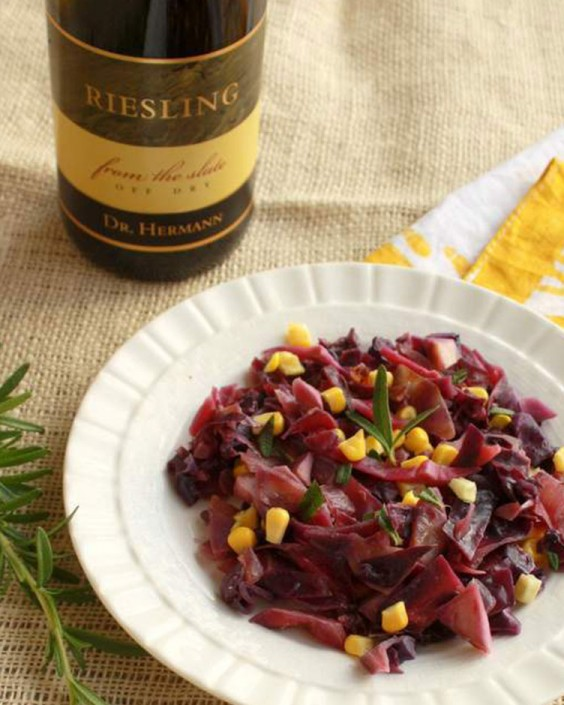 Riesling Braised Cabbage and Corn