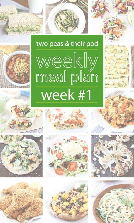 Two Peas and Their Pod Weekly Meal Plan #1