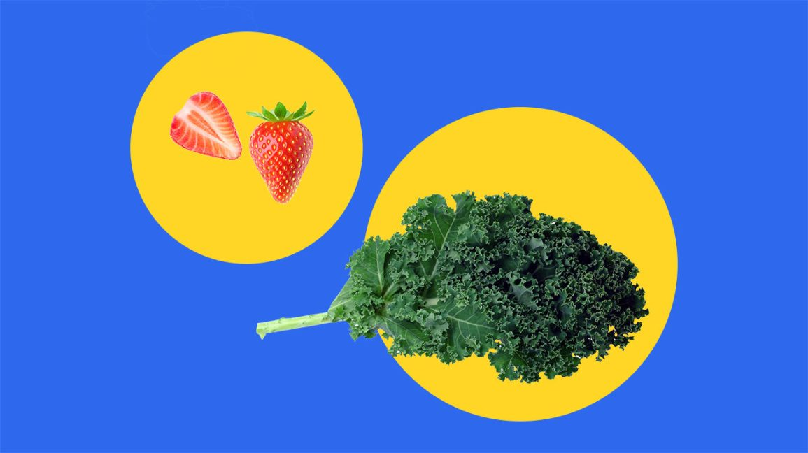 kale and strawberries on an illustrated blue and yellow background