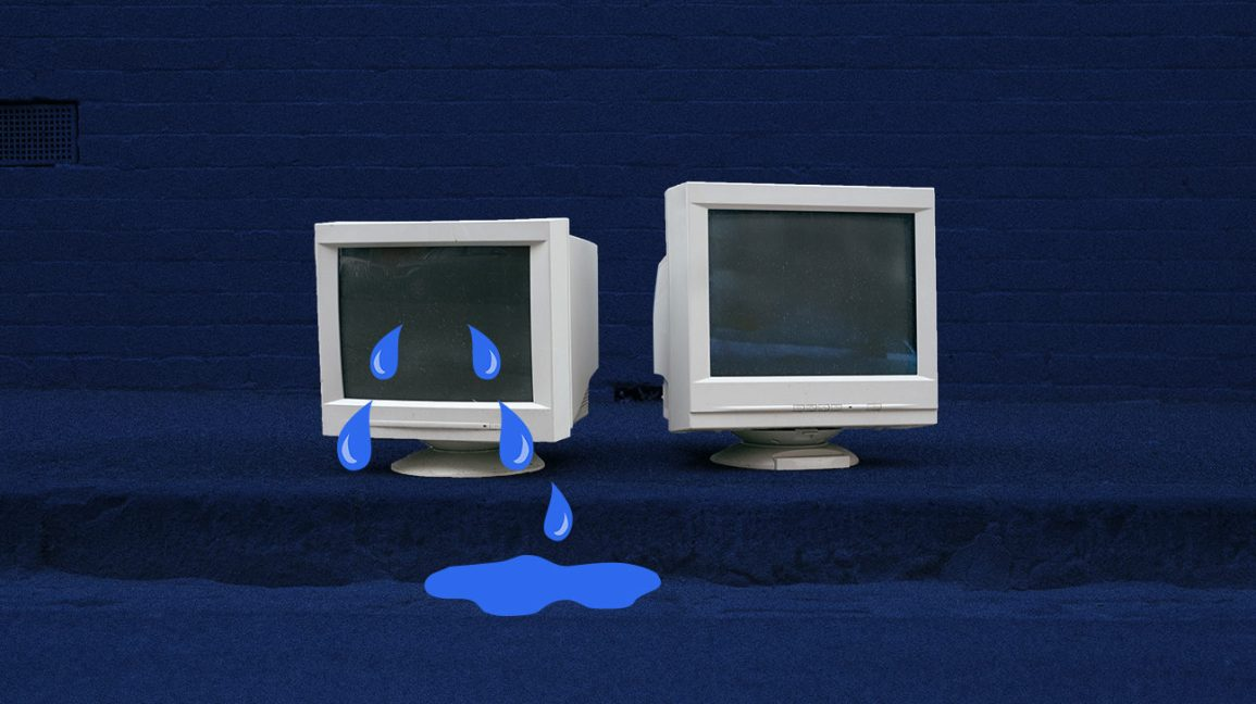an old computer crying, to signify crying at work