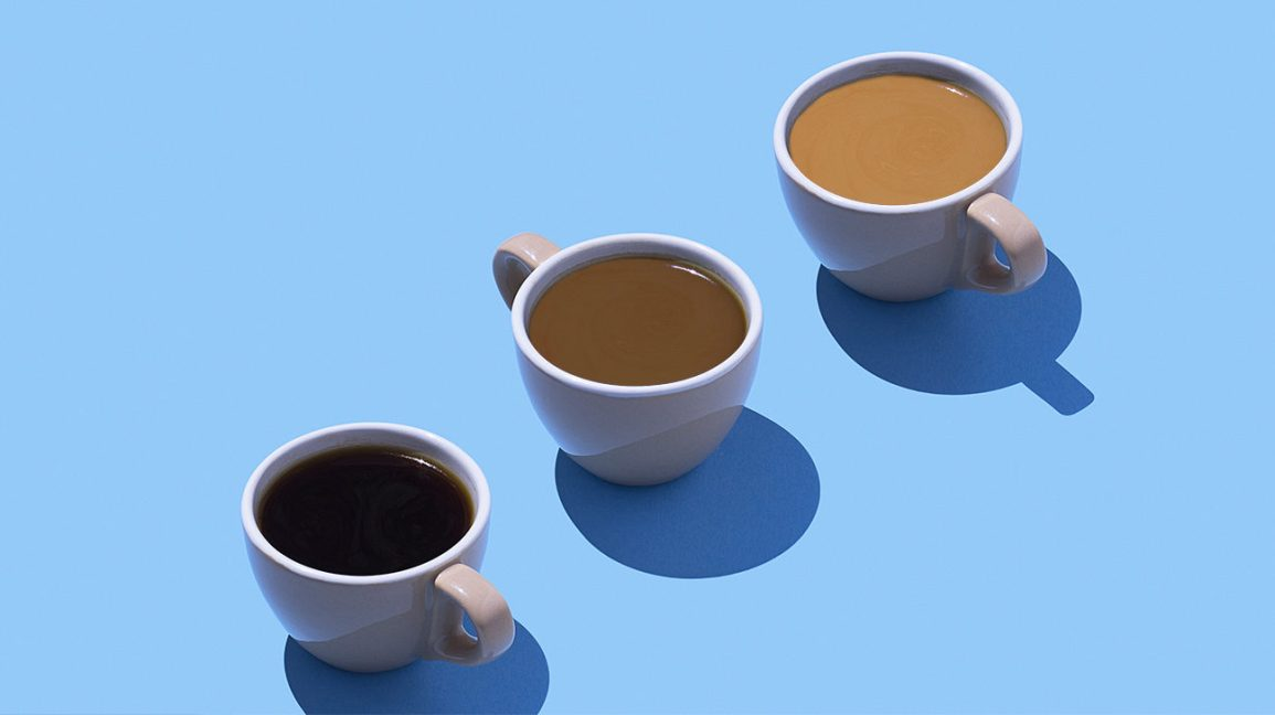 different color coffee in mugs