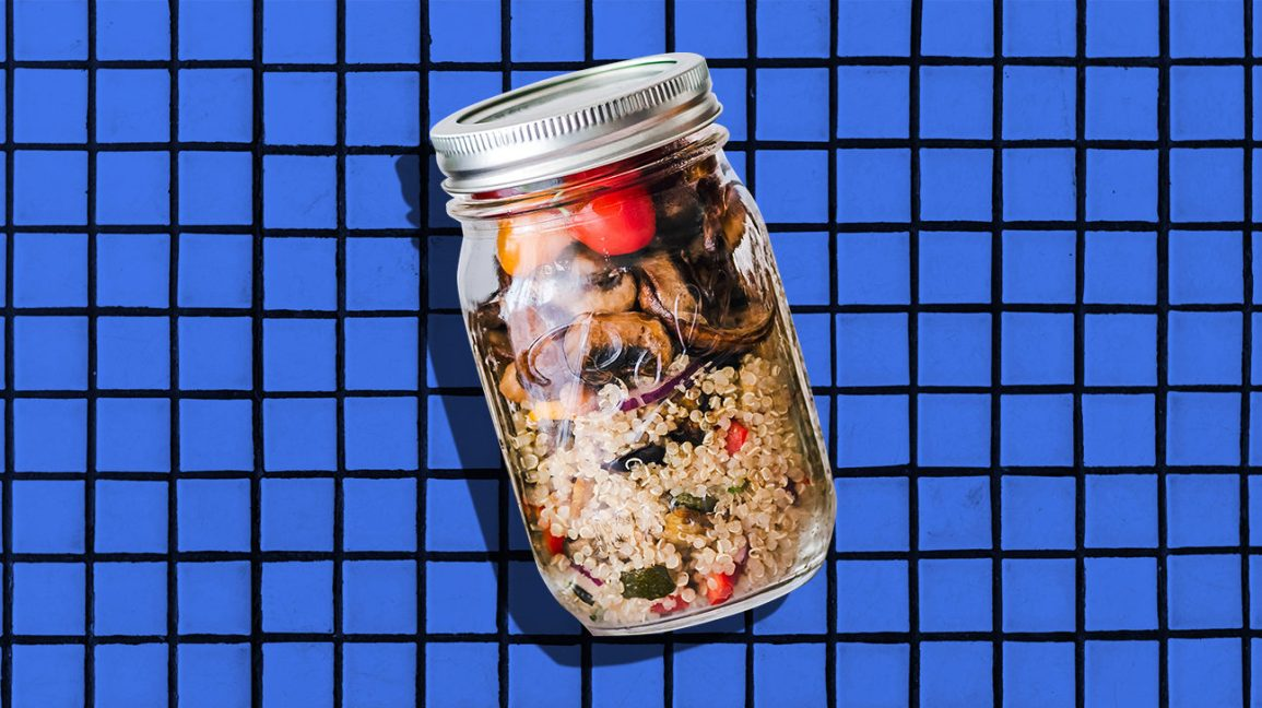 mason jar meal with granola and fruit