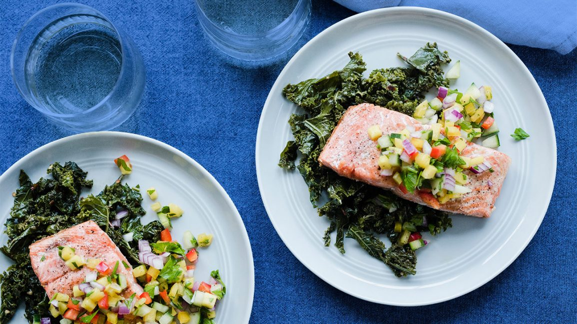 Whole30 dinner recipe with salmon and mango salad