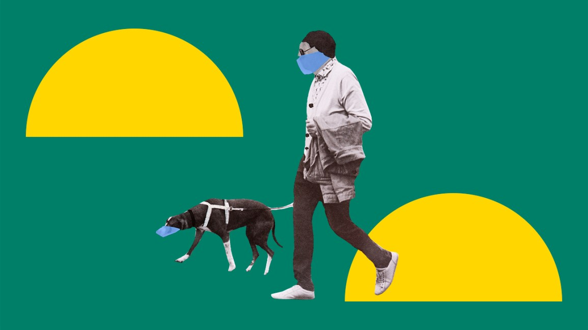man wearing mask and walking a dog