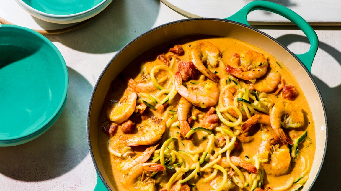 skillet with zucchini noodles and shrimp