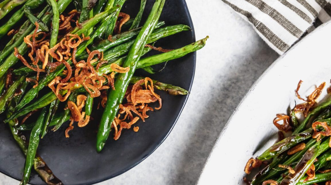 charred maple soy green beans with crispy shallots