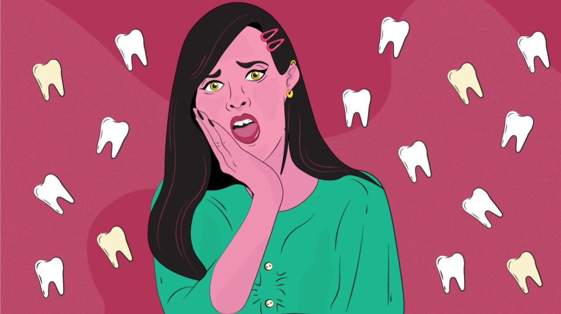 illustration of a woman with a chipped tooth