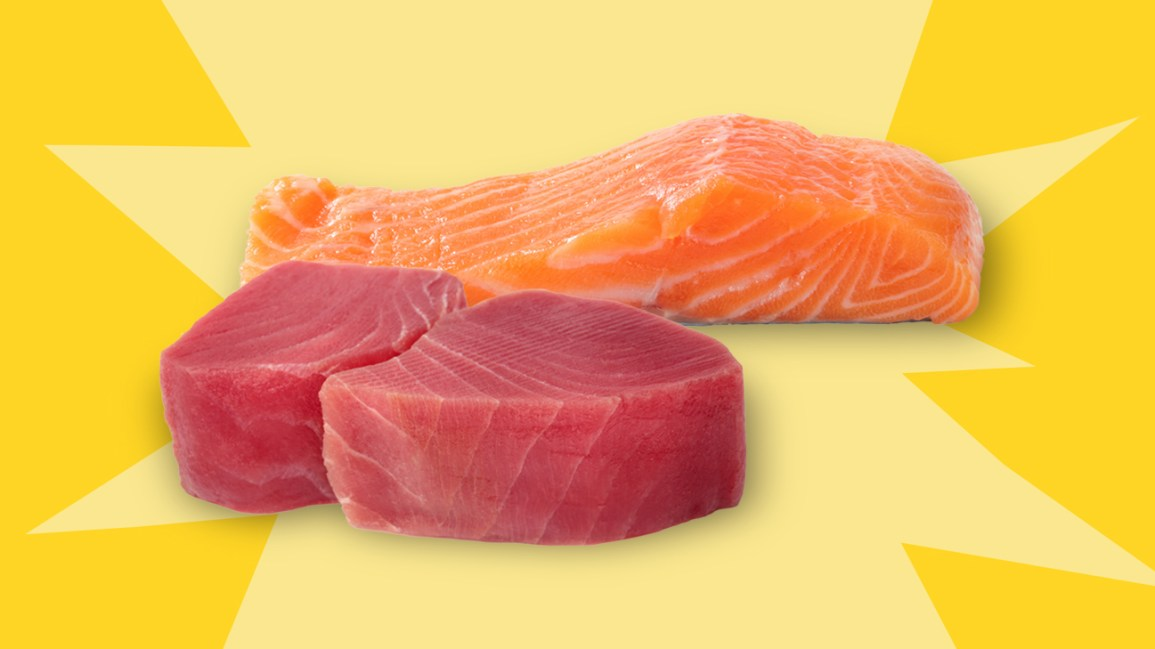 tuna vs salmon on yellow background header