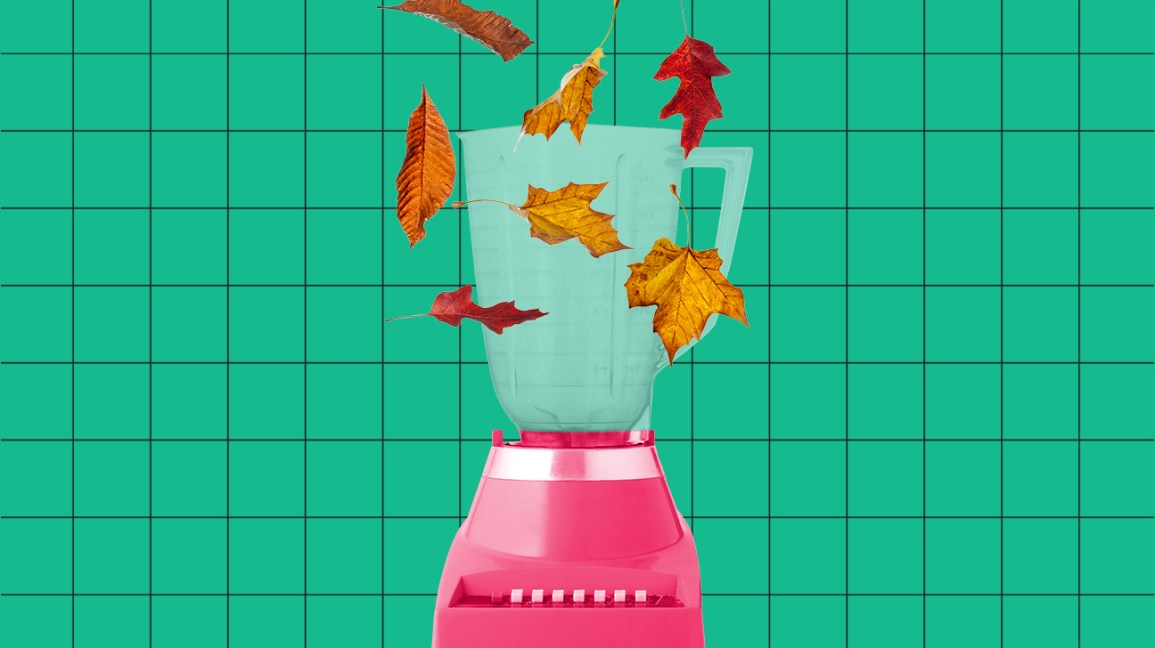 leaves falling into a blender to celebrate fall foods header