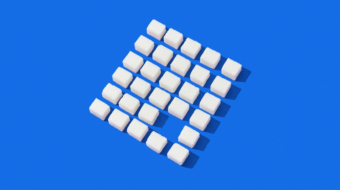 square formation of sugar cubes so you eat less sugar header