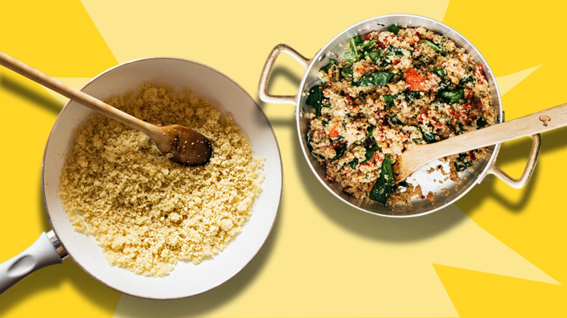 couscous and quinoa on yellow background header