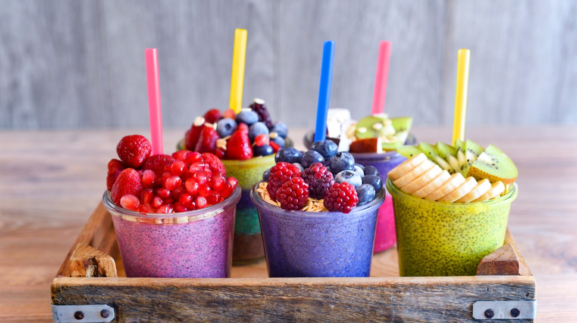 Chia and fruit smoothie healthy and sugarfree food header crop