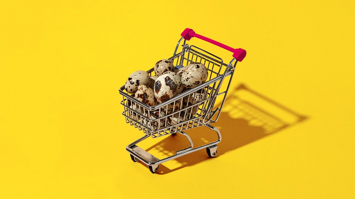 quail eggs in a shopping cart