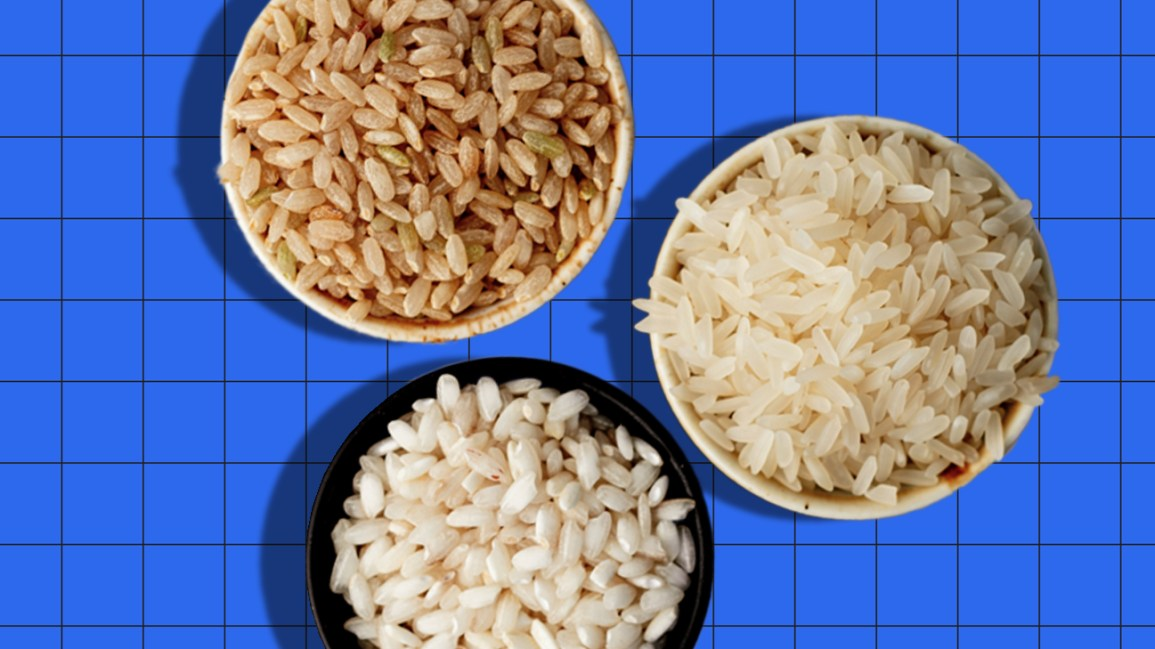 bowls of brown and white rice header