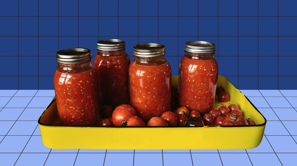 jars of homemade canned tomatoes
